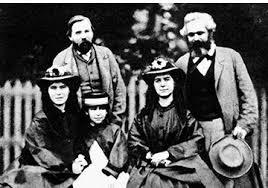 큰 딸 예니, 둘째 딸 라우라 셋째 딸 엘레노어 그 뒤에선 마르크스와 엥겔스(1864년).jpg